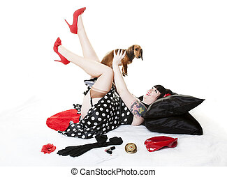 Pinup With Puppy - Vintage inspired, retro pinup girl...