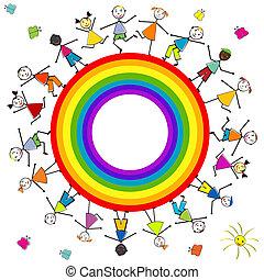stilizzato, arcobaleno, bambini, intorno