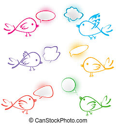 Group of birds with chat bubbles
