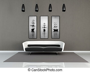 black and white modern interior - minimal black and white...