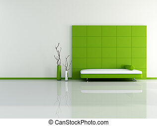 minimal green living room with sofa panel and vase - digital...