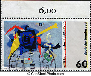 draw by Willi Baumeister - GERMANY - CIRCA 1995: A stamp...