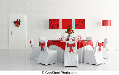 christamas dining room - white dining room with christmas...