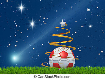christmas soccerball and comet - Marry christmas from the...
