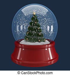 christmas tree in a snowglobe on blue background with...