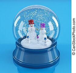 snowmans in a snowglobe - snowman family in a blue snowglobe...