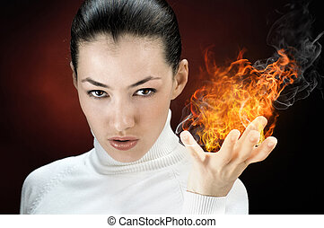fire woman - angry gorgeus girl in the burning flame