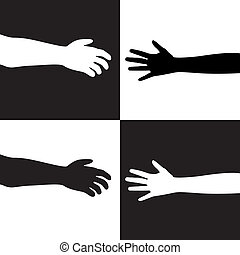 black and white hands - vector illustration of black and...
