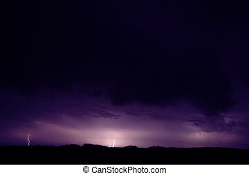 Electric storm. The plains in the Gascoyne region of Western...