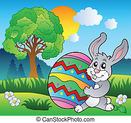 Meadow with tree and Easter bunny - vector illustration