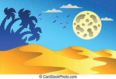 Cartoon night desert landscape - vector illustration.