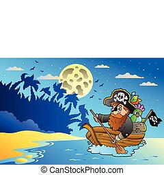 Night seascape with pirate in boat - vector illustration.