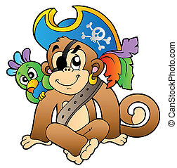 Pirate monkey with parrot - vector illustration