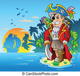 Noble corsair standing on island - vector illustration