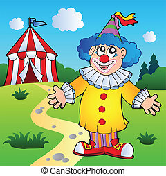 Cartoon clown with circus tent - vector illustration