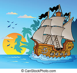 Old vessel with island silhouette - vector illustration
