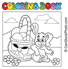 Coloring book with Easter theme 2 - vector illustration.