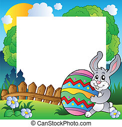 Easter frame with bunny holding egg - vector illustration.