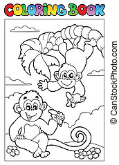 Coloring book with two monkeys - vector illustration