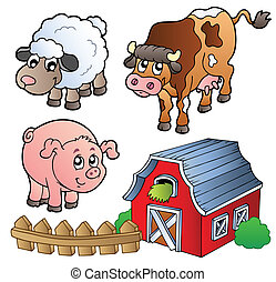 Collection of various farm animals - vector illustration.