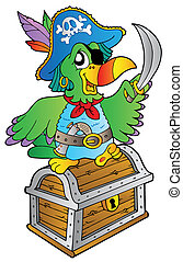 Pirate parrot on treasure chest - vector illustration