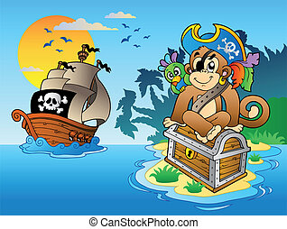 Pirate monkey and chest on island - vector illustration