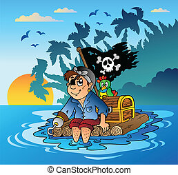 Pirate sailing on wooden raft - vector illustration.