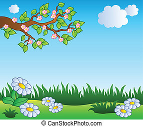 Spring meadow with daisies - vector illustration.