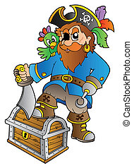 Pirate standing on treasure chest - vector illustration.