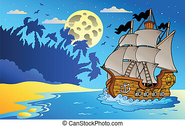 Old vessel at night near beach - vector illustration.