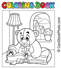 Coloring book with teddy bear 2 - vector illustration