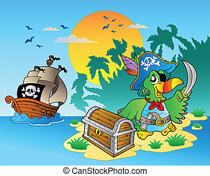 Pirate parrot and chest on island - vector illustration