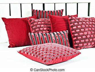 combinación, rojo, marrón, almohadas, Cama,...