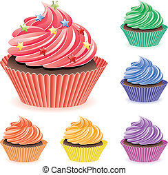 colorful cupcakes - vector set of colorful cupcakes