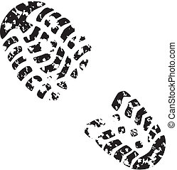 foot print - vector illustration of man's grunge foot print