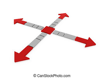 3d red gray arrow