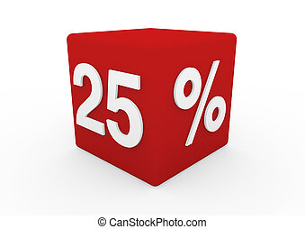 3d red white sale cube 25 isolated on white background