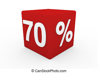 3d red white sale cube 70 isolated on white background
