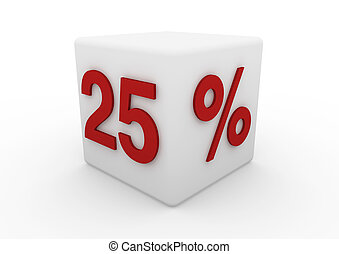 3d red white sale cube isolated on white background