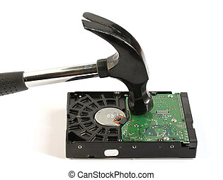 martelo, golpear, computador, difícil, disco,...