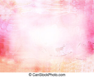 Beautiful watercolor background in soft pink and orange-...