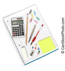 notebook calculator pen pencil sharpener eraser