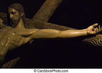 The cross. - Sculpture of Jesus Christ on the cross on a...