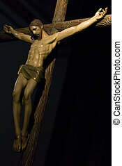 Crucifixion - Sculpture of Jesus Christ on the cross on a...