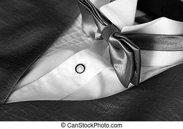 arco, corbata, esmoquin, camisa