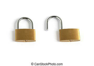locked closed and unlocked open padlocks - locked closed and...