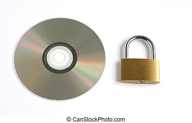 locked closed padlock and CD disk isolated on white...