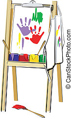 Easel - An art easel with a painting hanging on it A white...
