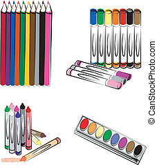 Crayons, Pencils and Markers - Colored pencils, markers,...