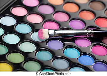 eyeshadow kit with makeup brush
